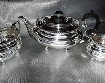 Fabulous Antique solid silver large Teapot, Sugar Bowl & Cream Jug set. weighs 1.2Kg