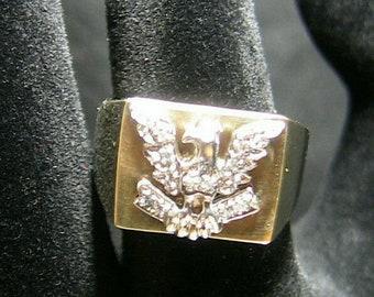 Heavy 9ct Diamond Eagle Signet Statement Ring