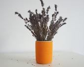 Cement plant pot | Concrete pot | Orange cement flower pot | Cement plant vase