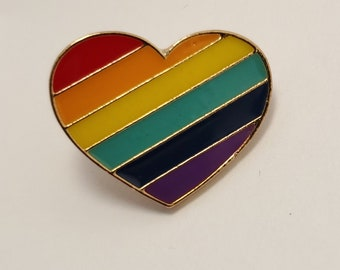 Large Sparkly Rainbow Heart Pin