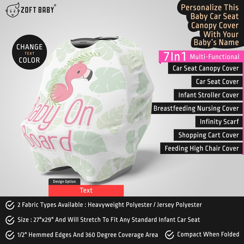 Personalized Flamingo Car Seat Canopy Cover Flamingo Baby Stretchy Car Seat Cover Mom Nursing Cover Custom Name Infant Car Seat Cover