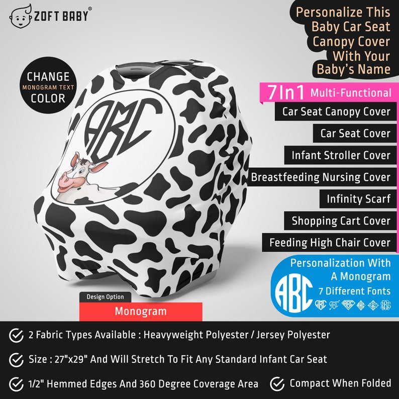 Personalized Cow Car Seat Canopy Cover Custom Name Infant Car Seat Cover Mom Nursing Privacy Cover Cow Baby Stretchy Car Seat Cover