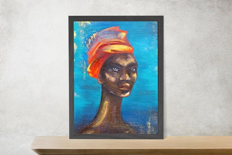 African American Art Female Portrait Painting African Artwork Printable Digital Download Art Black Woman Painting Wall Art Black Girl Magic