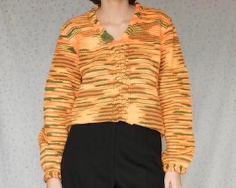 70s Hand knitted Orange Wool sweater