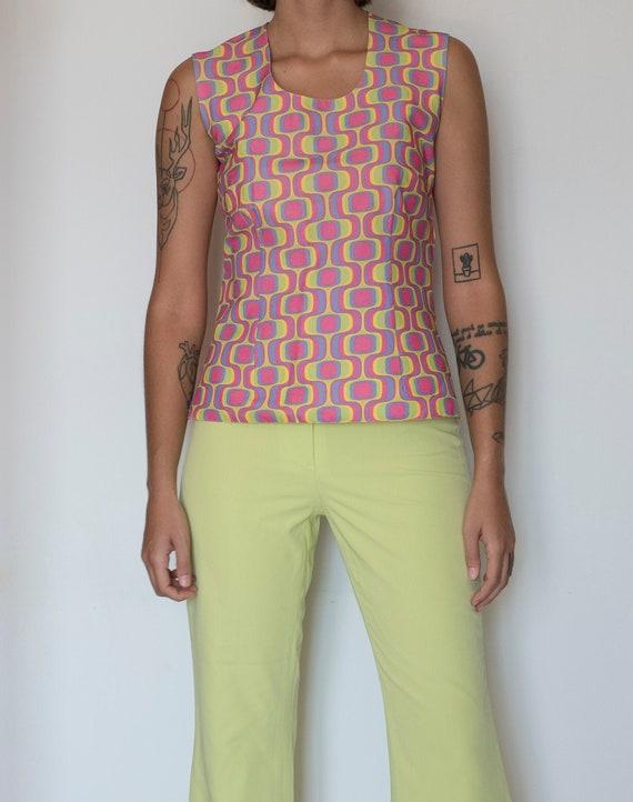 Vintage 60s multicolor psychedelic print top