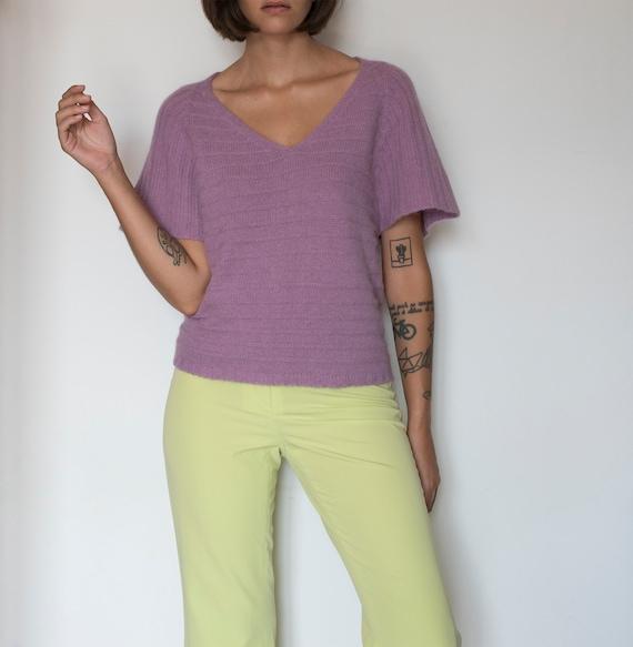 Vintage dusty purple short sleeve sweater