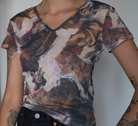 Vintage mesh printed short sleeve top