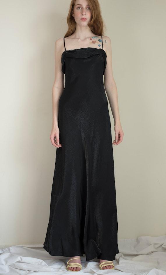 Vintage iridescent black slip dress / small