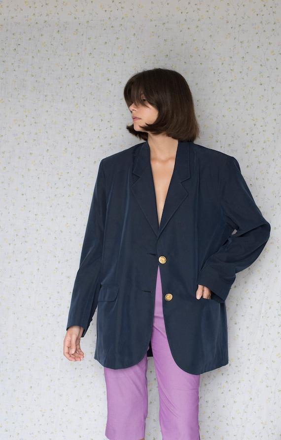 Vintage navy blue oversized silk blazer