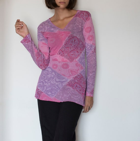 Vintage pink mesh printed long sleeve top