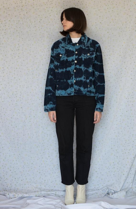 Vintage blue tie dye corduroy jacket - image 1