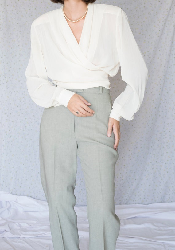 Vintage cream wrap blouse with shoulder pads