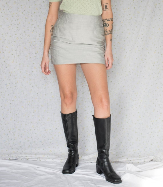Vintage Black Chunky knee high leather boots