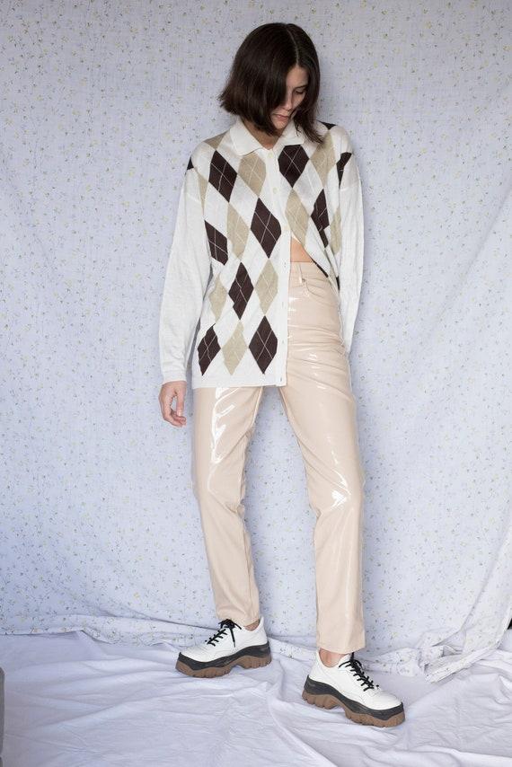 Vintage ivory argyle knitted long sleeve cardigan