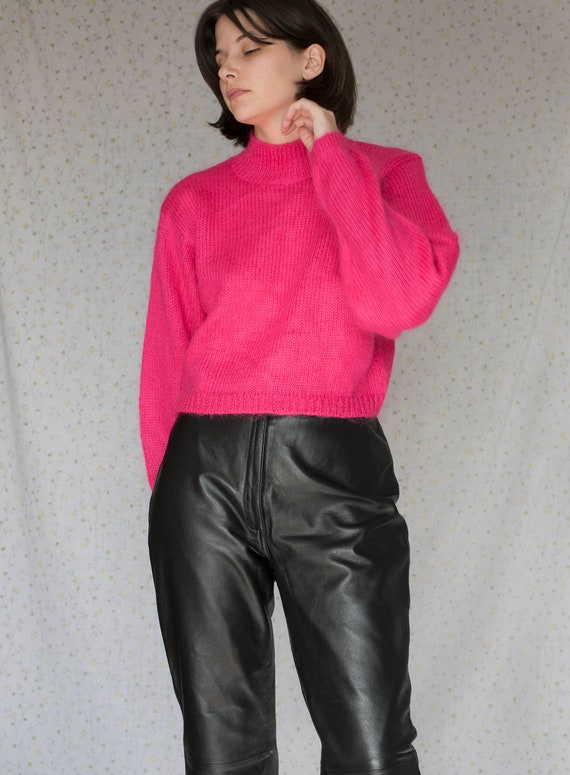 Vintage Hot Pink Mohair cropped sweater