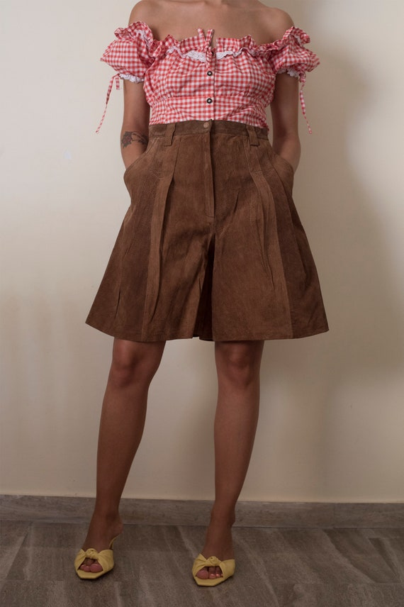 Vintage brown high waist culotte shorts / suede sh