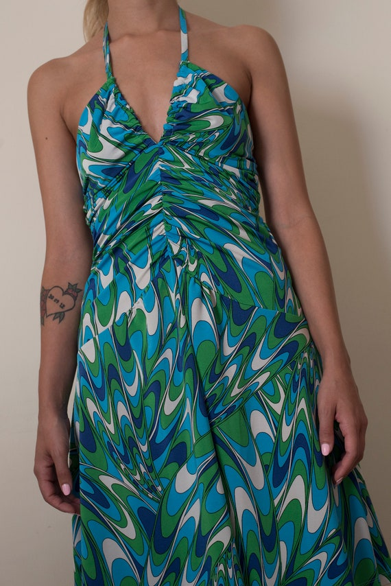 Vintage psychedelic print midi dress / small