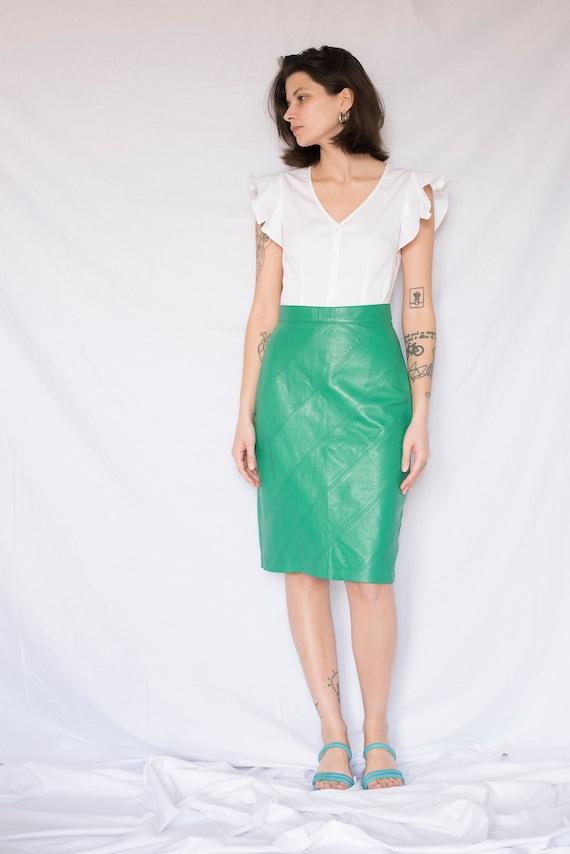 1980s Green Leather High Waisted Midi Skirt
