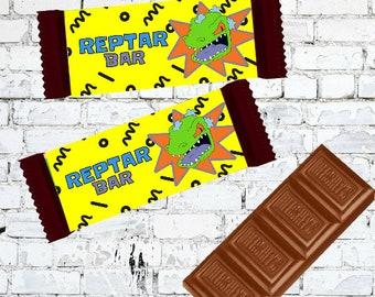 Reptar Bar Rugrats Chocolate Candy Custom Wrapper - Hersheys Editable Instant Download Nicktoons 90s