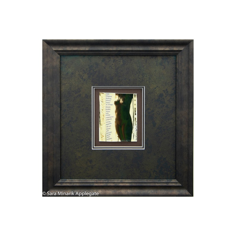 Framed Nude Photograph Collage Whispered Doubting Presence found words poem custom frame shrinkydink Mixed Media