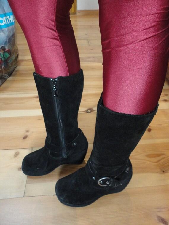 Black suede platform boots Rocket Dog