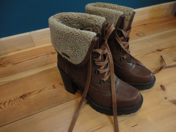 Brown leather furry chunky heels boots