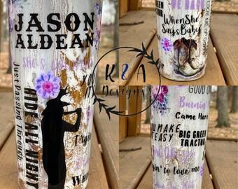 Jason Aldean 20oz Sublimation Tumbler Design