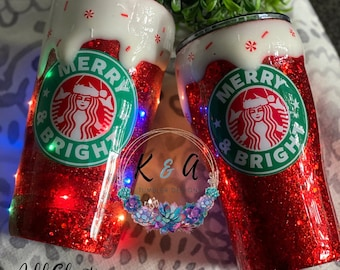 Christmas Starbucks Tumbler regular/skinny/wine HOGG Travel Tumbler w/lid and straw LIMITED EDITION Merry and Bright