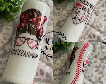 Baseball Mom Tumbler regular/skinny/wine HOGG Travel Tumbler w/lid and straw