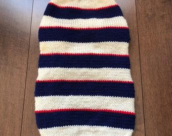 Cozy Handknit Striped Dog Sweater - Large