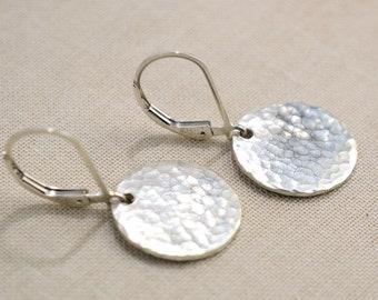 Silver Disc Hammered Earrings \u2022 Minimalist Silver Drop Earrings \u2022 Modern Earrings \u2022 Simple Everyday Earrings \u2022 Valentine/'s Day Gift for Her