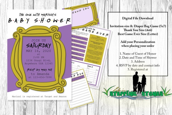 Friends Tv Show Baby Shower Theme Invitation And Activity Game Etsy