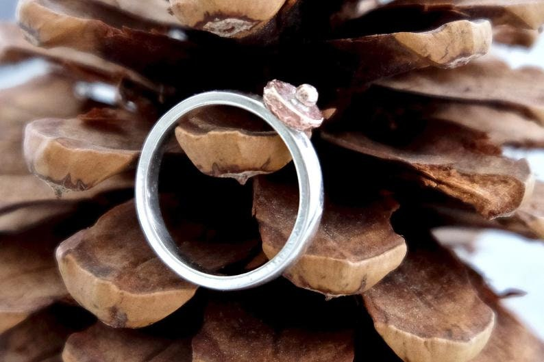 Rustic Ring Sterling Silver Band Mixed Metal Ring Geometric Ring  Size UKP US8 Organic Simple Ring Copper Dot Ring Ring