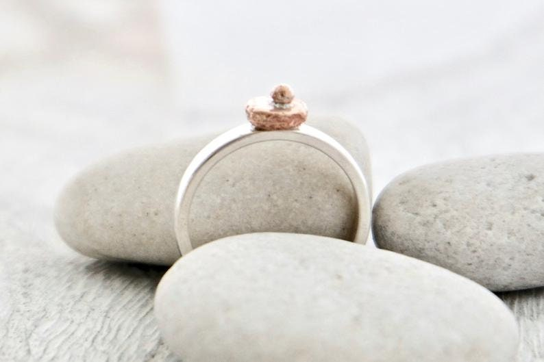 Organic Copper Dot Ring Geometric Ring  Size UKP US8 Rustic Ring Ring Simple Ring Sterling Silver Band Mixed Metal Ring