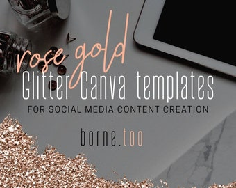 Rose Gold Glitter Canva Templates For Social Media