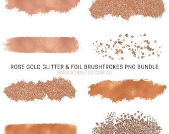 Rose Gold Glitter  and  Foil Png Graphics | Social Media Graphics | Clip Art