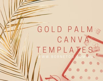 Gold Palm Leaf Canva Social Media Templates | Clipart | Digital Graphics | Download