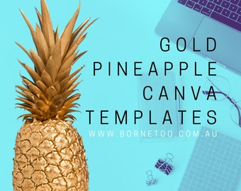 Gold Pineapple Canva Social Media Templates | Clipart | Digital Graphics | Download