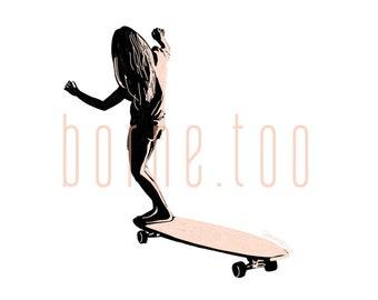 Skater Girl Digital Print | Minimalism Print | Skateboarding Art | Skateboard Girl