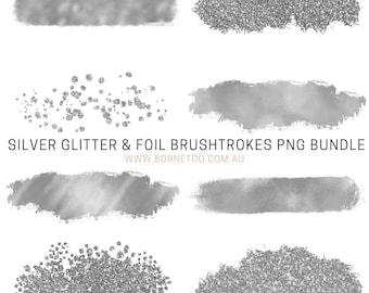 Silver Glitter & Foil PNG Graphics | Social Media Graphics | Clip Art | Canva Template