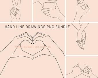 Hands Drawings PNG Images | Line Art | Digital Download | Graphics | Clip Art
