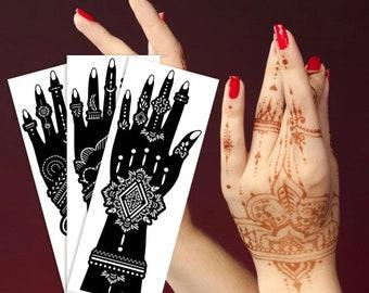 Hand Stencils for Henna Tattoos