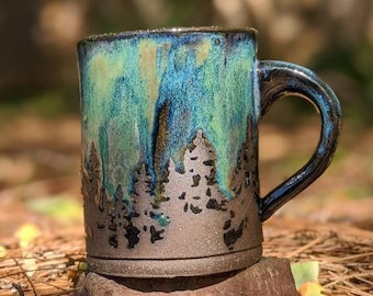 Green Northern Lights Pottery Mug // Camping Forest Nature Galaxy Sky Star Handmade Tree Rustic Woodland Gift  Stoneware Aurora Borealis