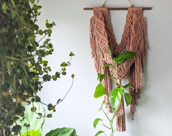 Macrame Wall Hanging Plant Holder, Pink Plant Hanger, Plant Accessories, Plant Lover Gift, 1970's Aesthetic