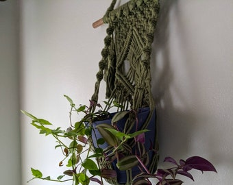 Macrame Plant Hanger for Wall, Macrame Plant Holder, Plant Accessories, Bohemian Aesthetic, Mossy Green Home Decor