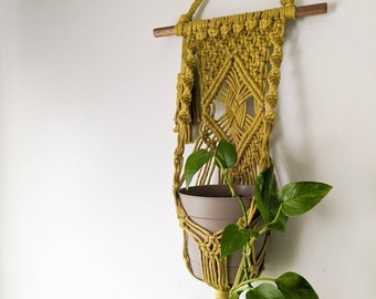 Chartreuse Green Macrame Plant Hanger for the Wall, Indoor Plant Holder, Plant Lover Gift, Bohemian Aesthetic
