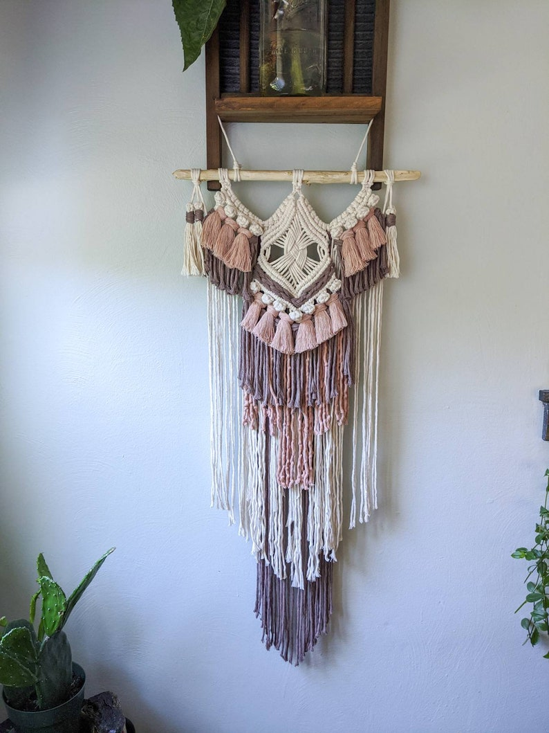 Bohemian Home Decor Boho Wall Hanging Handcrafted Home Decor Macrame Wall Hanging Pink Wall Hanging