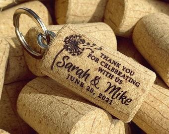 Botanical Thank You Gift Cork Save the date Guestbook Vineyard Wedding Engraved Wine Cork Custom Wedding Favors Leaf Bottle Stopper
