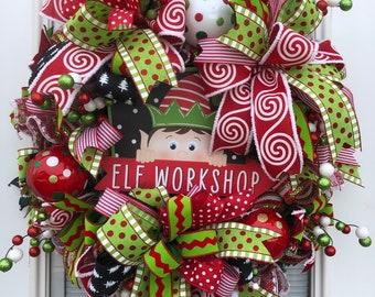 Christmas wreath front door wreath santa elf christmas wreath elf christmas wreath girl elf wreath deco mesh wreath