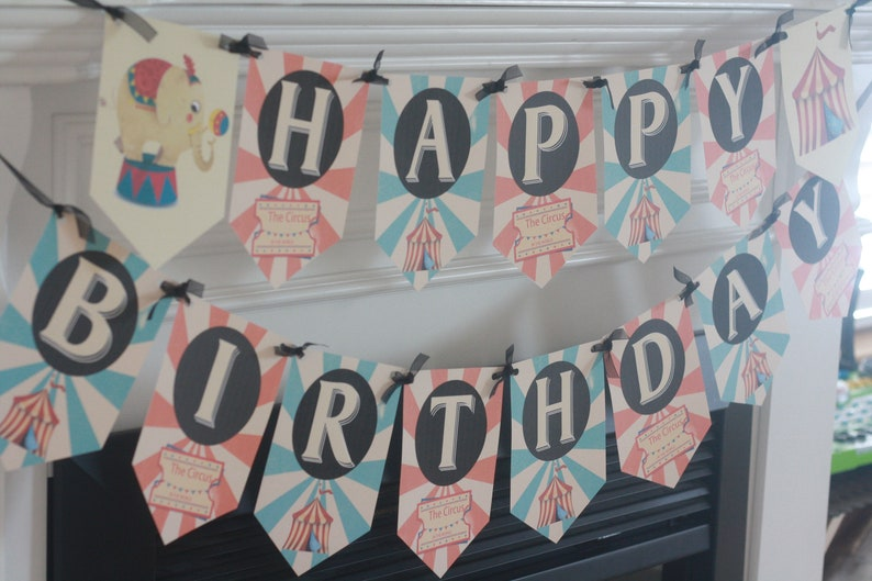 Red /& Blue Other Colors Available Vintage Circus Tent Elephant Animal Happy Birthday Birthday Banner Sign Decor